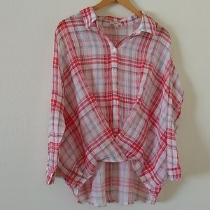 Easel for Anthropologie Plaid Crossover Shirt